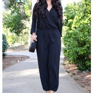 Cabi black faux wrap jumpsuit
